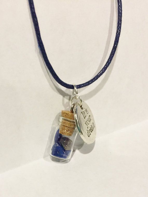 Blue Howlite Glass Bottle Pendant with by StarseedCrystalShop