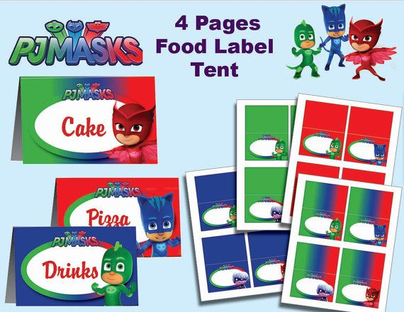 Pj Masks food label tent  4 designs Printable instant by PartyJony