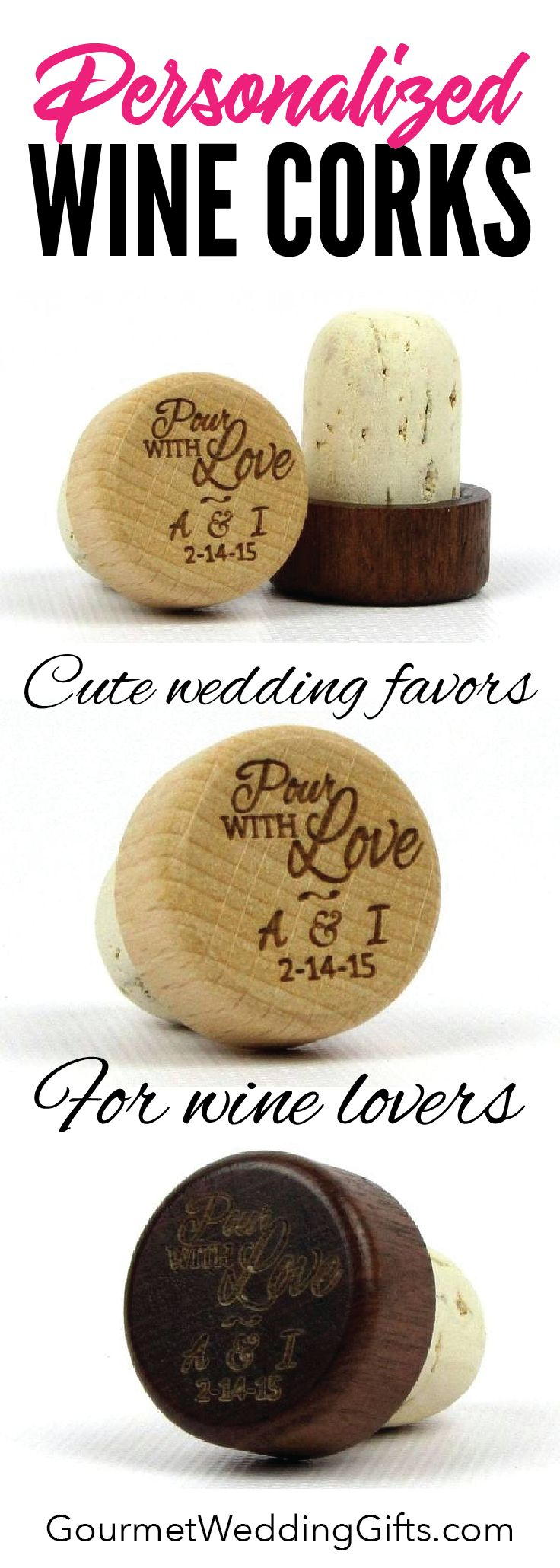 unique wedding favors |  wedding ideas | inexpensive cheap wedding gifts for guests | bridal shower gifts | custom gifts | wine gifts | cork stoppers #weddingideas