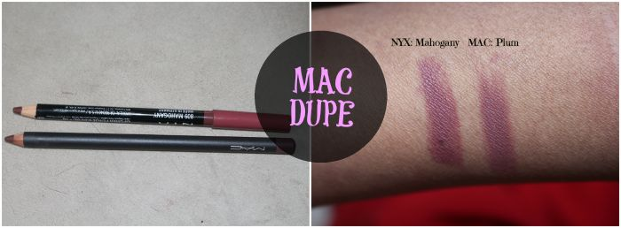 Dupe for Mac Plum lipliner is NYX's lip pencil in Mahogany. If you're looking for mac cosmetics dupes there are more on the blog: www.lisaalamode.com