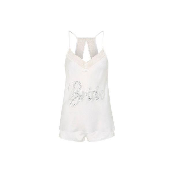 George Diamante Bride Pyjama Set (605 DOP) ❤ liked on Polyvore featuring intimates, sleepwear, pajamas, white, lace sleepwear, white pajamas, holiday sleepwear, white pyjamas and holiday pajamas