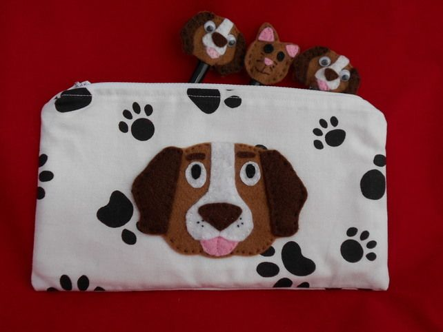DOG - Paw Print Pencil case with Applique brow DOG - cute £8.50