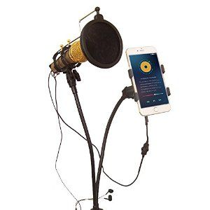 Amazon.com: Phone Microphone Holder, eBerry 3 in 1 Metal Gooseneck Microphone Mount Holder Stand Kit: Mic Stand, Phone Mount and Pop Filter for Karaoke, Recording, Studio, Video Chatting, Youtube (Clamp Base): Musical Instruments