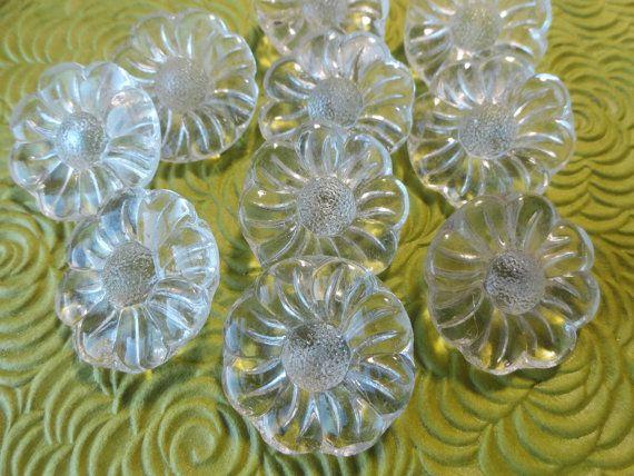 Vetro fiore Vintage pulsanti - 6 vetro trasparente in una SUA SCELTA di 7/8 o 3/4 di pollice 23mm o 19mm per gioielli perline per cucire per maglieria
