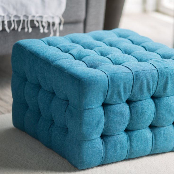 Just order this for my Bella puppy.  I'll put against window since she can see out. May have to put some wooden legs on it.  Belham Living Allover Tufted Square Ottoman - Teal - There's no such thing as too hip to be square where the Belham Living Allover Tufted Square Ottoman - Teal is concerned. This fashionable furnishing h...