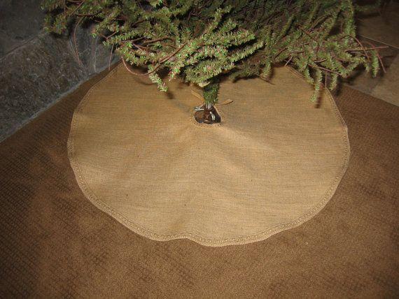 Primitive burlap Christmas Tree Skirt by HighFarmPrimitive on Etsy, $45.00