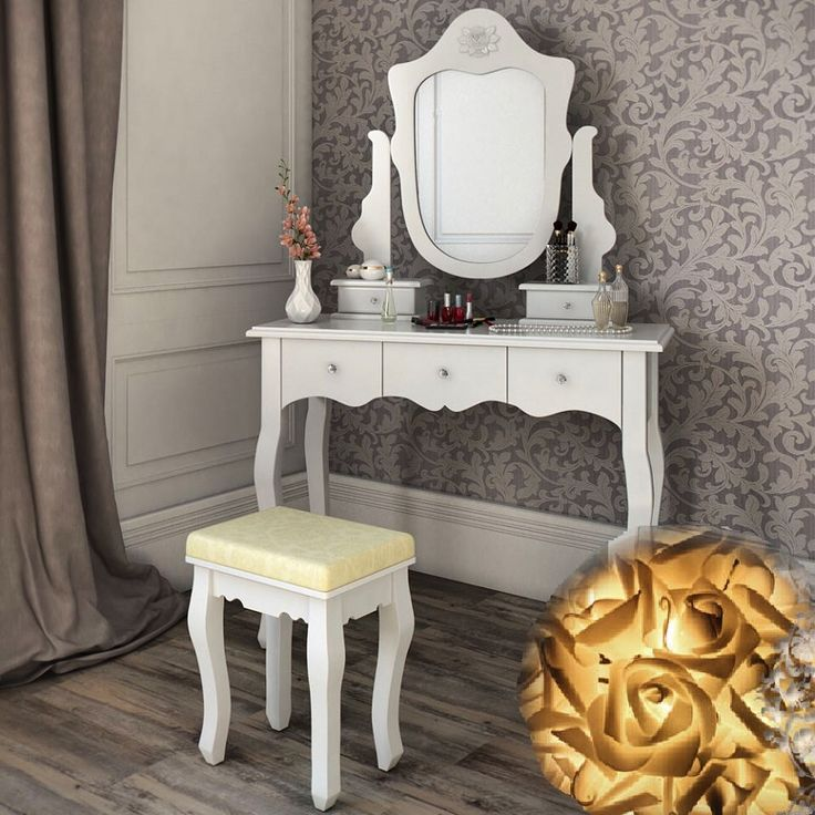 SEA307 Set masa toaleta cu 5 sertare: http://www.emobili.ro/cumpara/sea307-set-masa-alba-toaleta-cosmetica-machiaj-oglinda-masuta-vanity-297 #eMobili