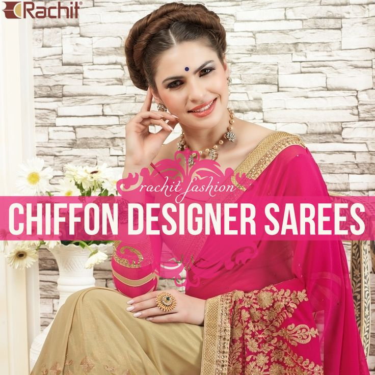 Shop for our Characteristic Chiffon Designer Sarees In Pink.
