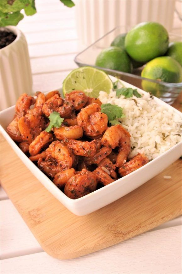 Whether you prefer to prepare and serve this easy, flavorful, 15 minute (or less), sheet pan cajun baked shrimp in warm tortillas as cajun shrimp tacos, or with cilantro lime (or plain) rice in a yummy bowl, you can't go wrong with this quick and delicious family style main dish solution for lunch or dinner! Make sure to PIN THE IMAGE BELOW to find your way back to make it again and again!  You are DEFINITELY going to get repeat requests:  Baked Cajun Shrimp Entree Recipe 15 Minute Easy…