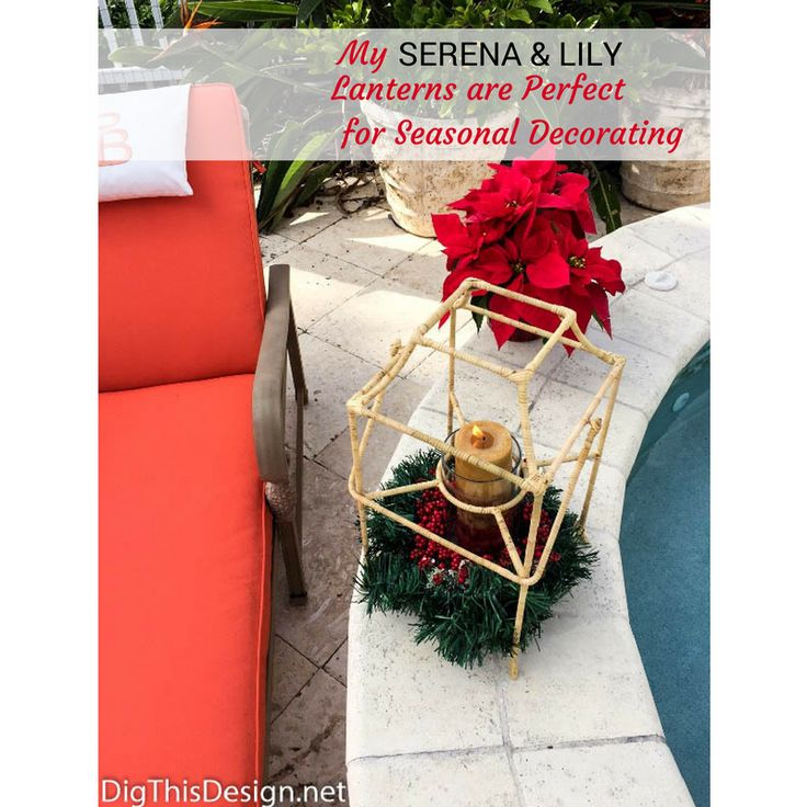 I love my lantern from Serena & Lily. I can decorate for every season so easily to add just the room décor that fits. This holiday decoration I made with things from my local dollar store for under $10.00.
