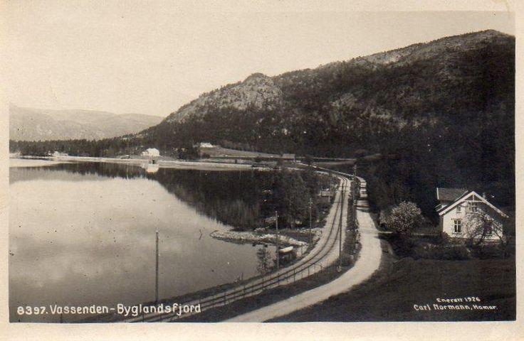 Byglandsfjord - Vest-Agder fylke. Stemplet 1925. Foto: Enerett Carl Normann, Hamar.