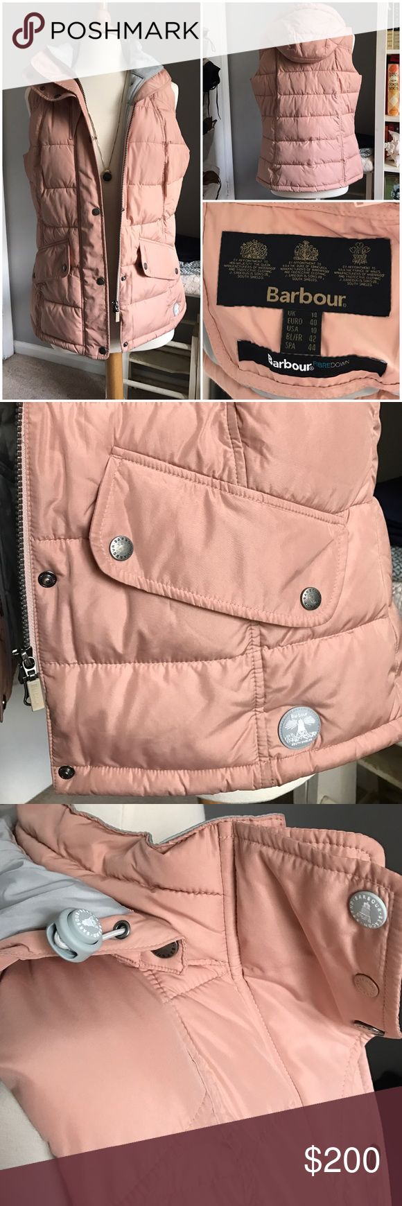 Barbour Down Blush Vest Detachable Hood Beautiful blush color Barbour Vest with Grey lining, perfect condition just a little too big, size 10 which is a medium but runs M/L Barbour Jackets & Coats Vests
