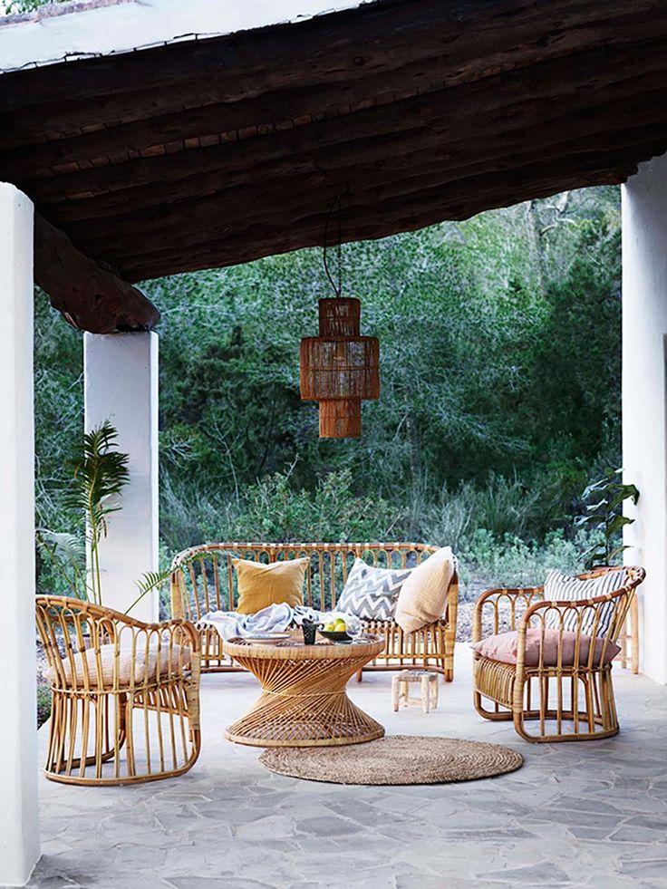 Muebles mimbre de terraza