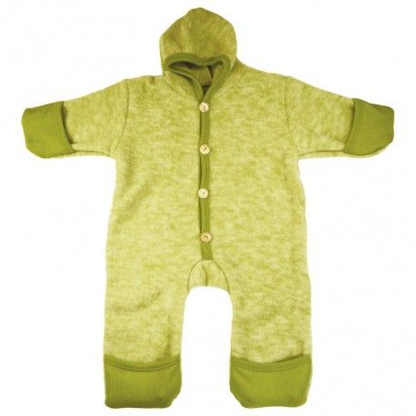 Wool fleece baby overall, green, Cosilana