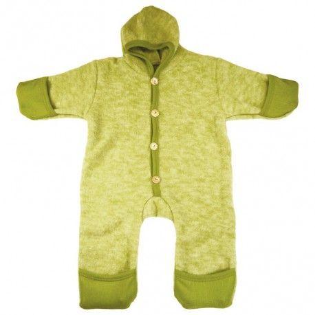 Wool fleece baby overall, green, Cosilana