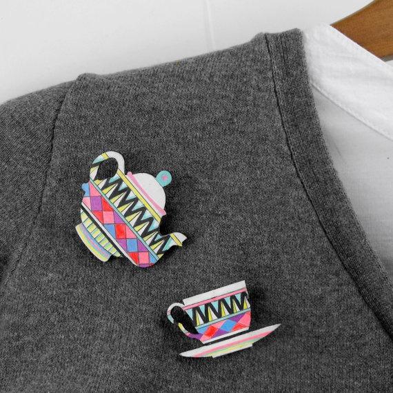 {'tea pot & cup'} geometric brooch set