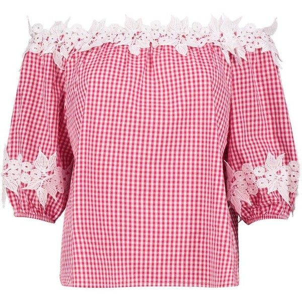 Boohoo Willow Gingham Crochet Bardot Top (89 EGP) ❤ liked on Polyvore featuring tops, gingham off the shoulder top, off the shoulder tops, jersey crop top, crochet off the shoulder top and pink crop top