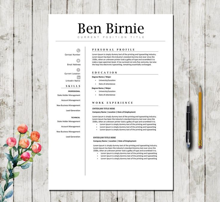 Executive Resume Template 5 Pages   Professional Teacher CV Template For  Word + Cover Letter + References   Instant Download   DIY Printable  Executive Resume Template Word