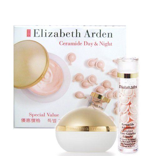 Elizabeth Arden Ceramide Day & Night Special Set by Elizabeth Arden. $30.00. Ceramide Advanced time comples capsules (30 capsules). Ceramide plump perfect moisture cream SPF30 1.7oz/48g. Elizabeth Arden Ceramide Day & Night Special Set. For Day : Ceramide plump perfect moisture cream SPF30   To Use : Smoothin onto cleansed face and thorat before sun expsure.   1.7oz/48g  For Night : Ceramide Advanced time comples capsules intensive tretment for face and throat  ?...