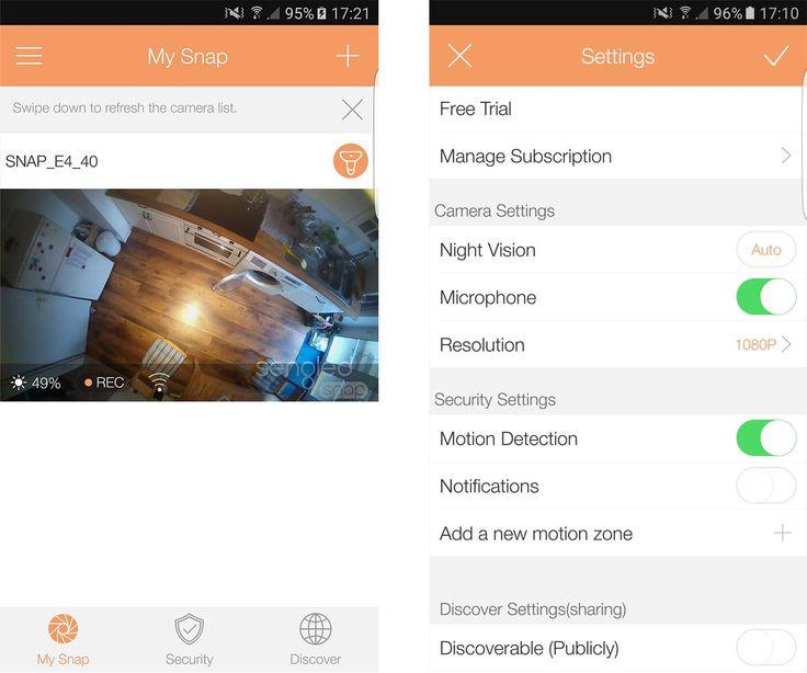 Sengled Snap: Links der Startbildschirm, rechts die Kamera-Einstellungen in der App. Mitteilungen bekommen Sie allerdings nur, wenn Sie einen Cloud-Service abonnieren