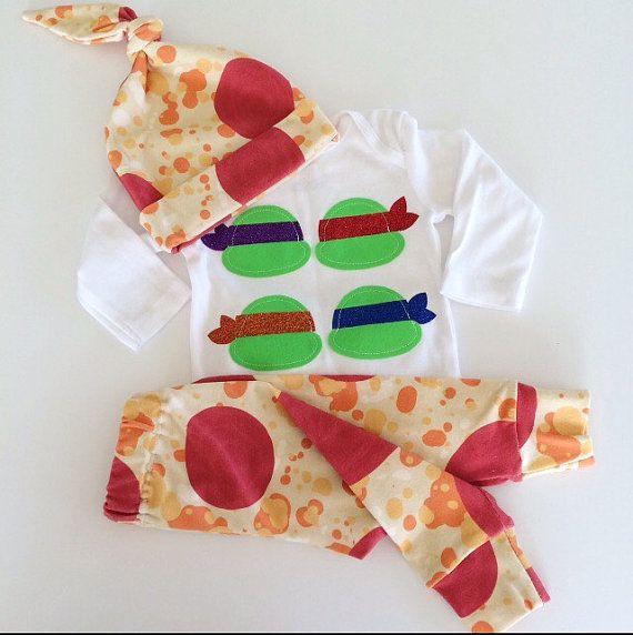 Teenage Mutant Ninja Turtles & Pizza  Baby Onesie by ShopLulubea