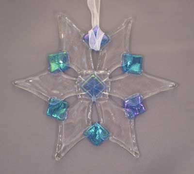 Fused glass ornaments holiday christmas snowflake. See othe snowflake designs.