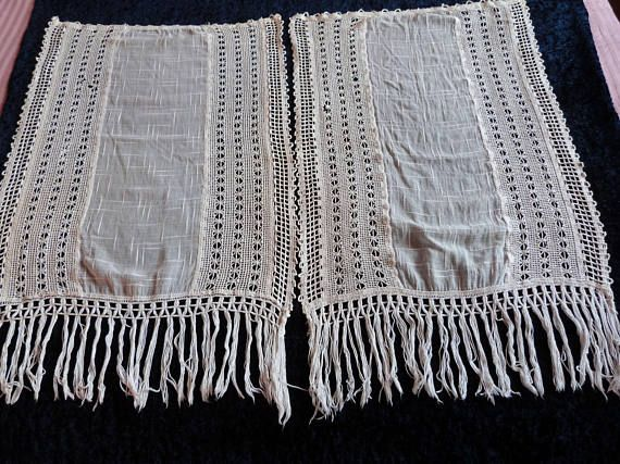 Antique French crocheted lace muslin curtains drapes handmade