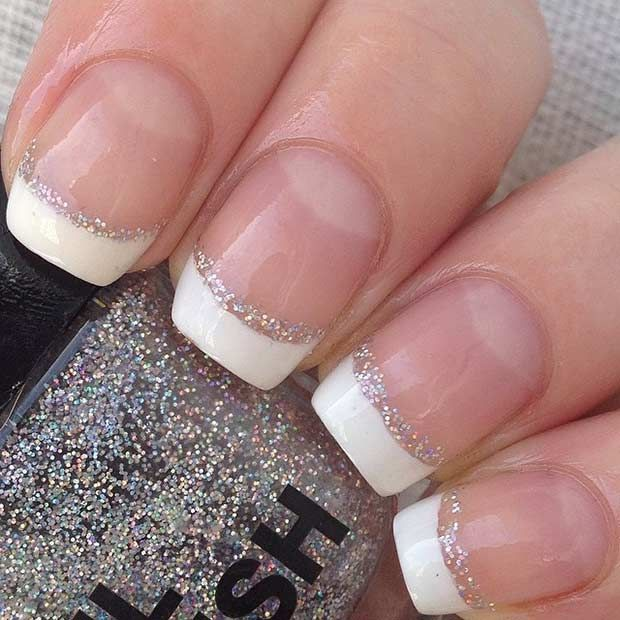 French Tip Nails with a Pop of Silver Glitter