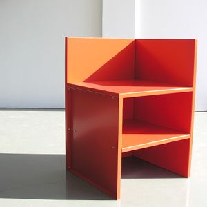 Donald Judd Corner Chair With Shelf In Tangerine