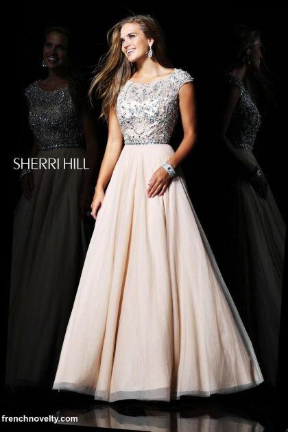 Sherri Hill 21053 Nude Silver Cap Sleeve Long Prom Dress