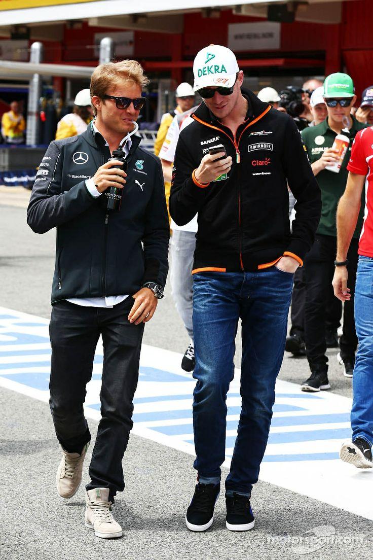 The two Nico's: Nico Rosberg and Nico Hülkenberg at the drivers' parade - 2014 Spanish GP