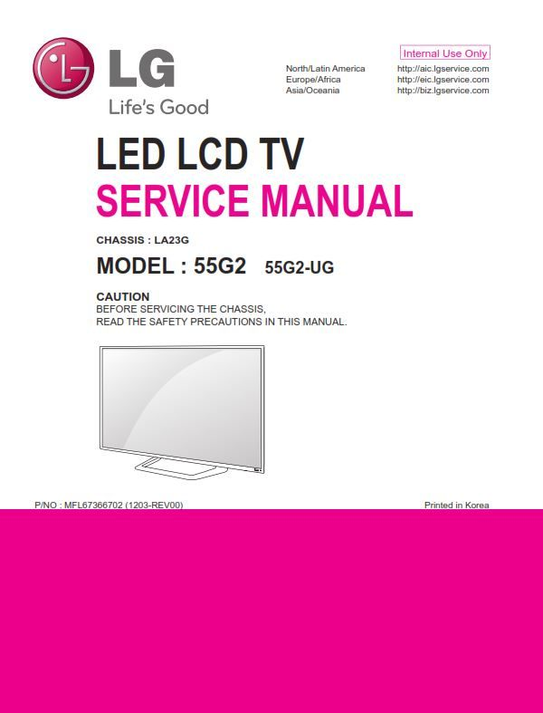 lg 55g2 ug la23g chassis 55-inch cinema 3d led tv original factory service,  repair and troubleshooting manual