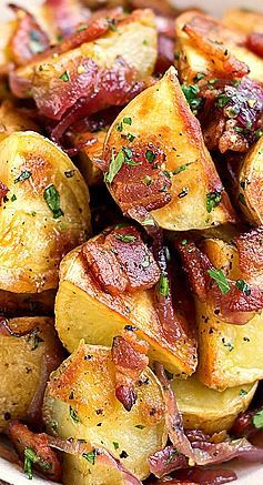 Warm, Roasted Baby Potato Salad with Crispy Bacon, Caramelized Onion, and Warm Bacon Vinaigrette