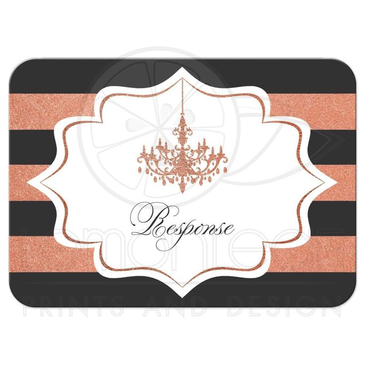 Charcoal grey, white and copper foil striped wedding enclosure RSVP reply response card insert with formal ballroom chandelier.