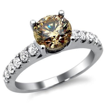 1.72ct Brown Champagne Round Diamond Engagement Ring 18k White Gold Champagne Diamond