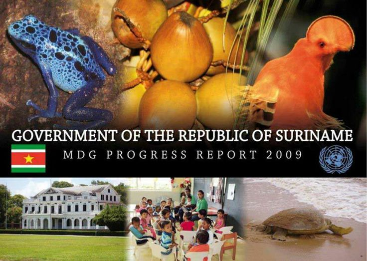 Suriname - MDG Progress Report 2009 (EBOOK) http://www.undg.org/docs/11466/MDG-Progress-Report-final-15april2010-1.pdf The objective of this report is to monitor progress and provide projections on what the current situation is, regarding all relevant goals and how and when they might be achieved on a sustainable basis.