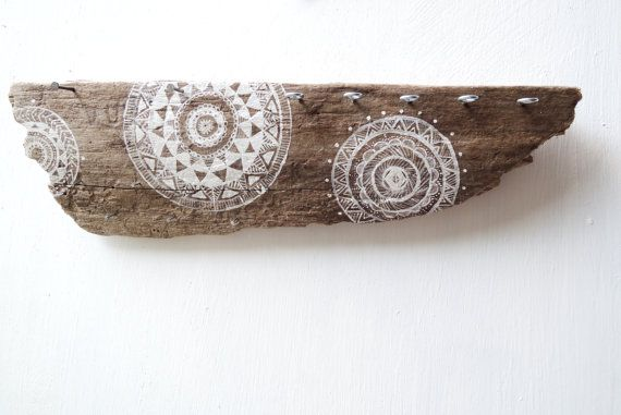 Large hand painted Mandala Driftwood Jewelry Display