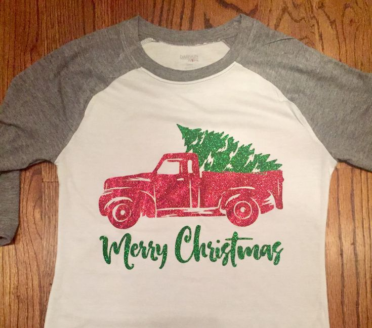 Gray and white Merry Christmas t-shirt with red and green glitter heat transfer vinyl (htv). Red truck with Christmas tree. Siser Easyweed.