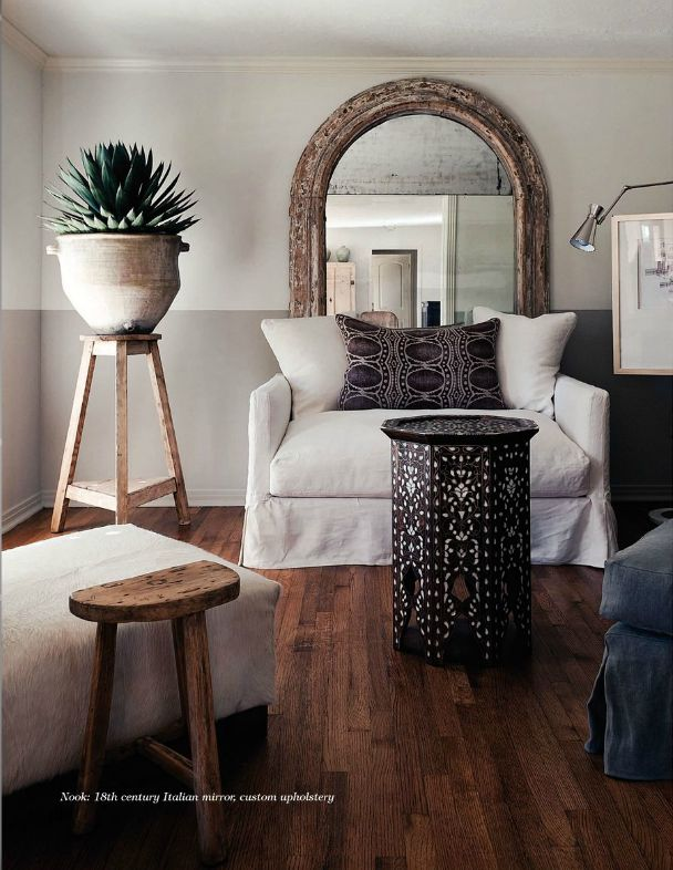 """Local (Houston) interior designer Megan Megas' living room. Such simplicity made powerful with oversize accessories (""""go big or go home""""; """"keep it simple""""). Thinking the best part is the bi-colored wall with moldings painted to match."""