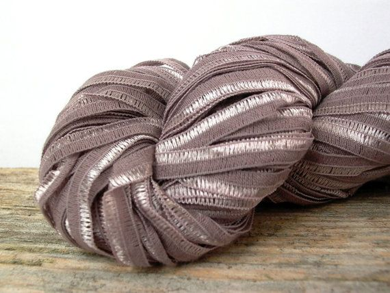 berroco zen ribbon yarn . cocoa mauve 8244 . 110yd . italian ribbon yarn . light brown lavender fancy novelty ribbon discount yarn