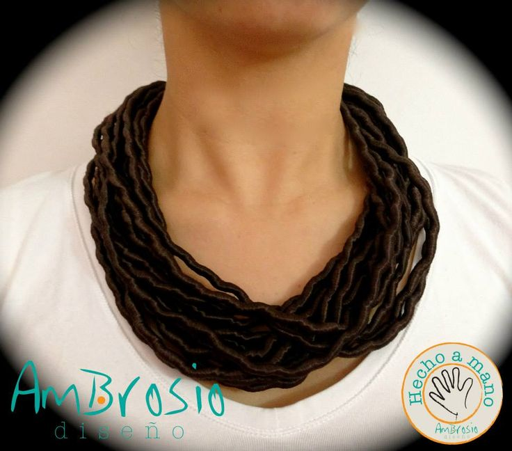 Browm Necklace - Brown Silk Threads Handmade - Made in Colombia $30.00