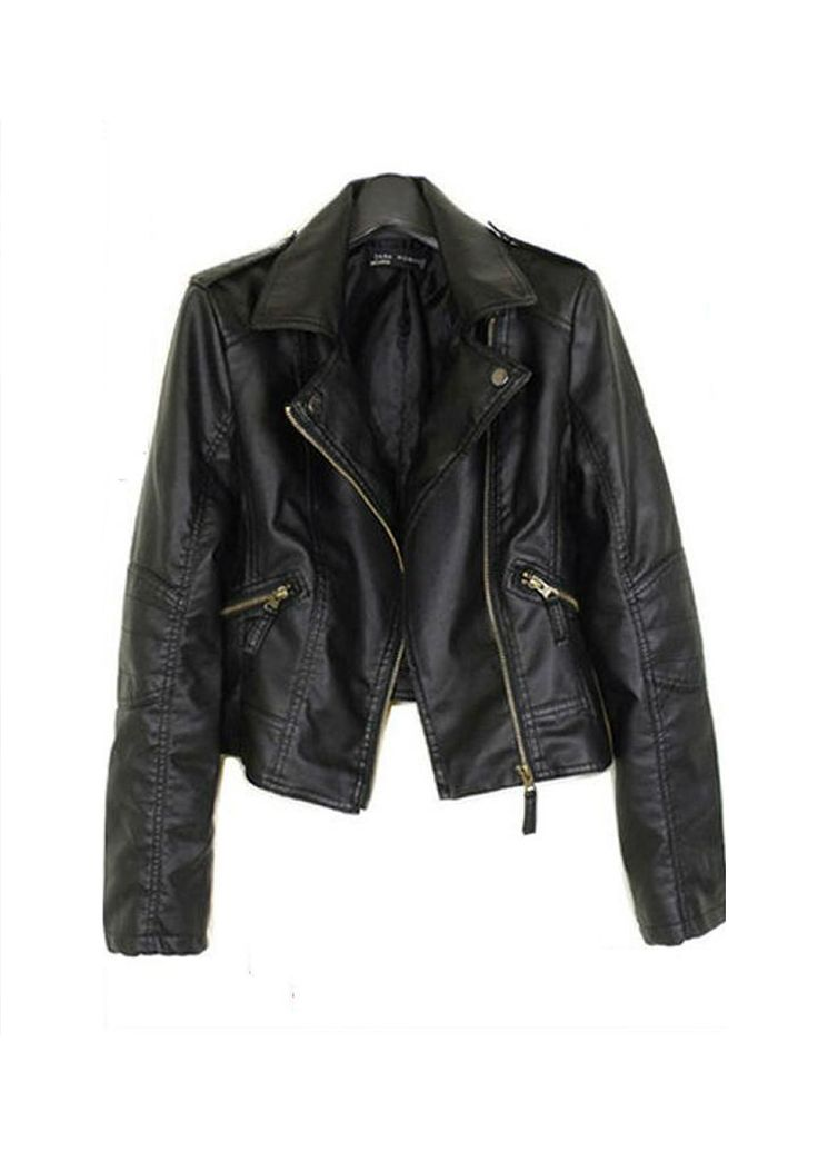 leather look biker jacket <3 #fashion #jacket