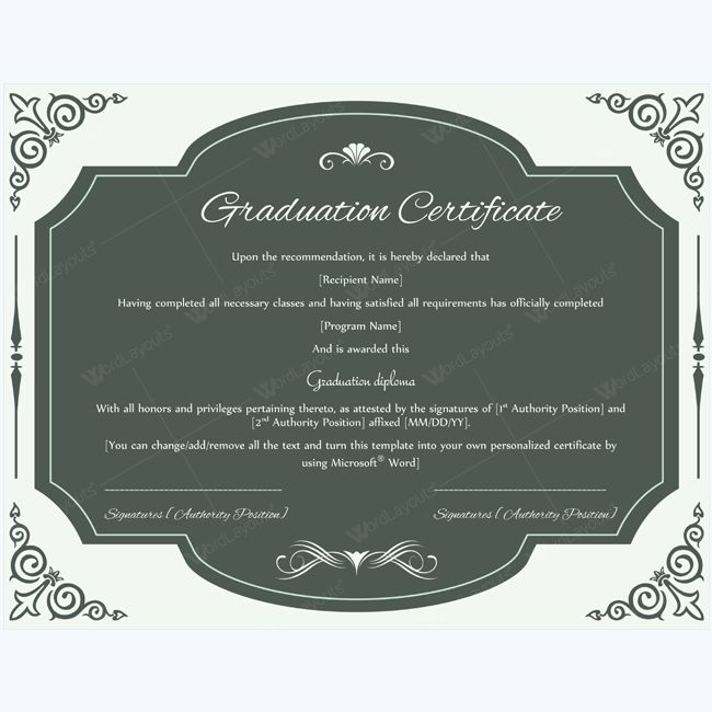 13 best Graduation Certificate Templates images on Pinterest - microsoft award templates