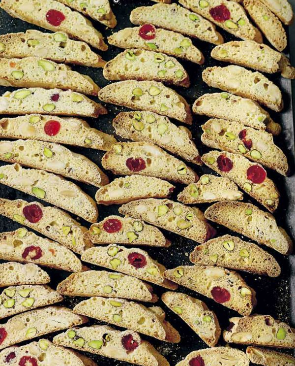 KAREN MARTINI: Pistachio, almond and cherry biscotti