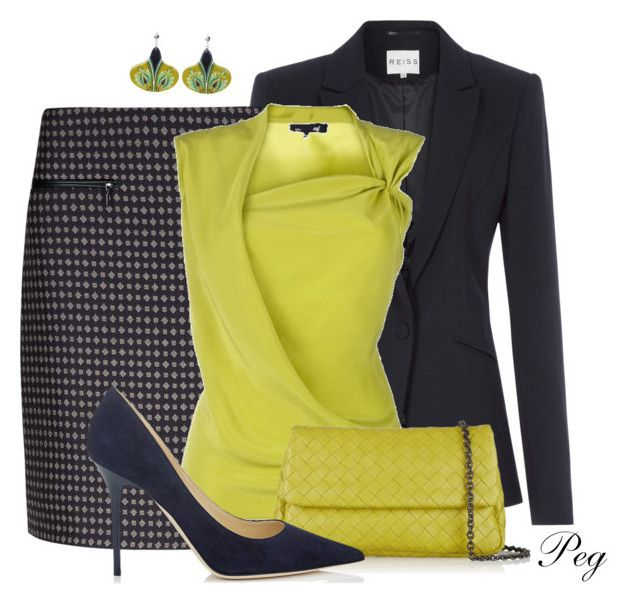 """Chartreuse and Navy"" by derniers ❤ liked on Polyvore featuring Reiss, M&S, Damsel in a Dress, Bottega Veneta, Beloved, Jimmy Choo, women's clothing, women's fashion, women and female"