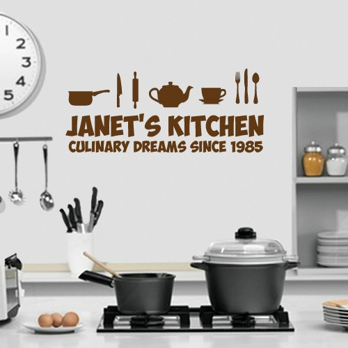 Kitchen Themed Wall Art Personalised With Name Kitchen Design Sil