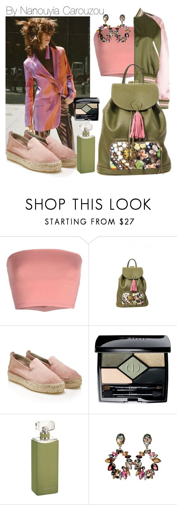 """""""Pink tassel baby, i have a unique backpack"""" by nanouyia on Polyvore featuring Annarita N., John Lewis, Ralph Lauren Collection, GREEN, bag, backpack and oil"""