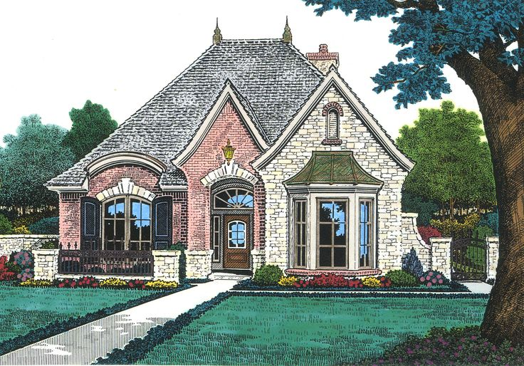 Petite French Cottage - 48033FM | Cottage, European, French Country, Narrow Lot, 1st Floor Master Suite, Den-Office-Library-Study, PDF, Split Bedrooms | Architectural Designs