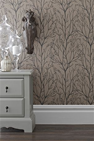 Buy mink twigs wallpaper from the next uk online shop for Living room ideas mink