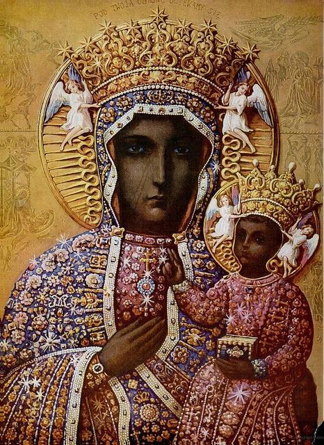 St. John Paul II had a great devotion to Our Lady of Czestochowa. This painting survived a fire with a few scratches left on it.